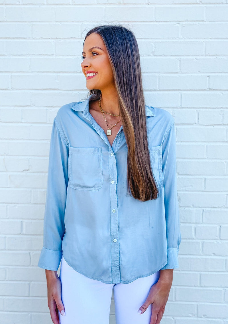 Satin Button Down Shirt with Pockets