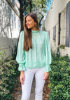 Billowy Blouse with Ruffled Elastic Sleeve Opening