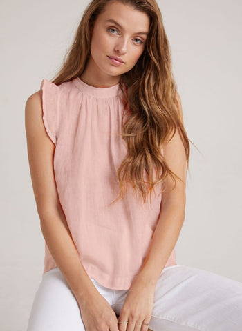 Shirred Cap Sleeve Tie Front Top