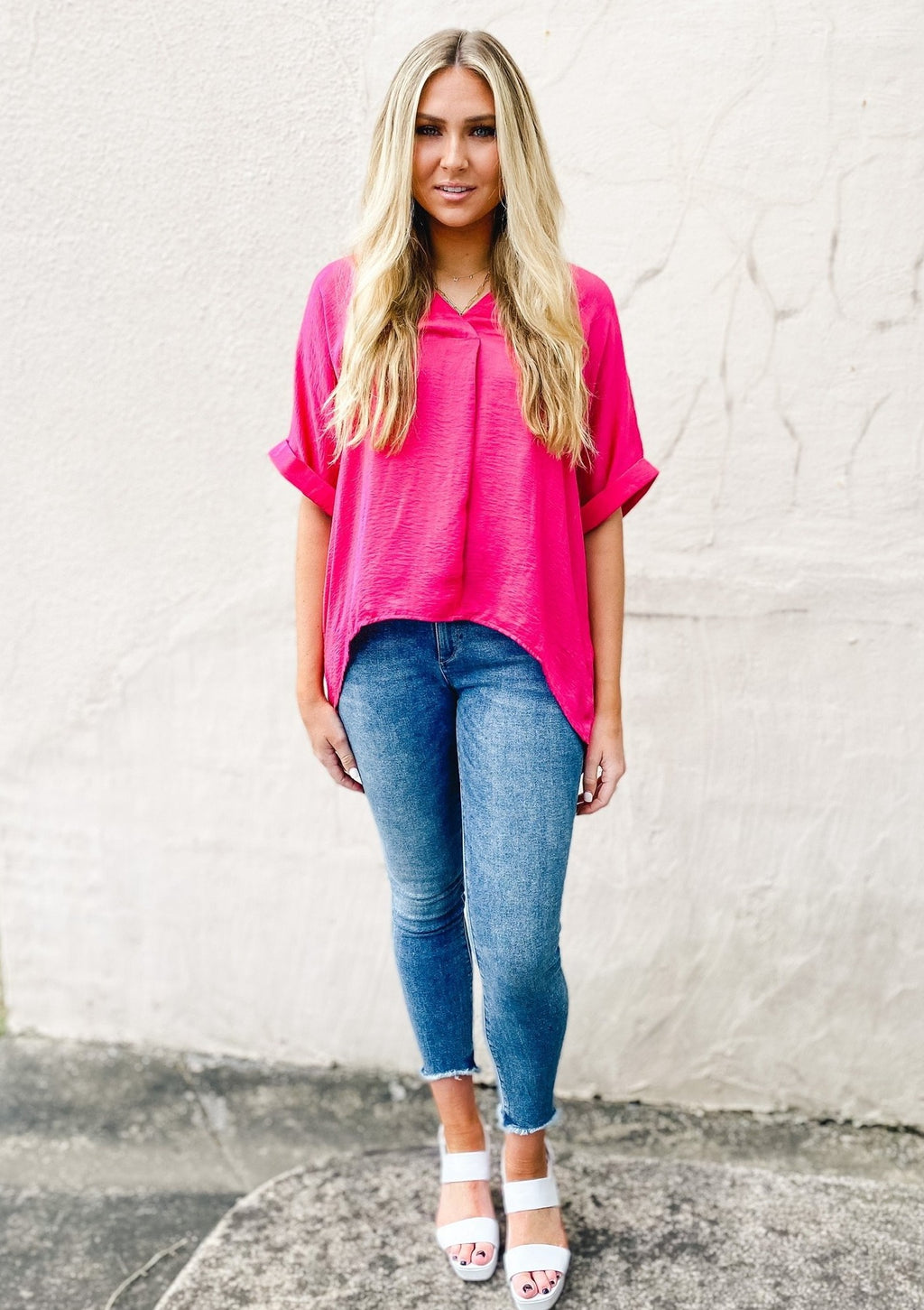 V-Neck High Low Top