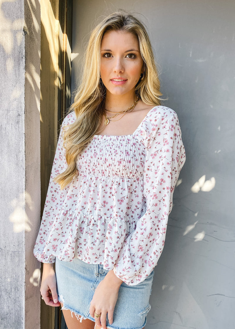 Long Sleeve Square Neck Floral Print Top