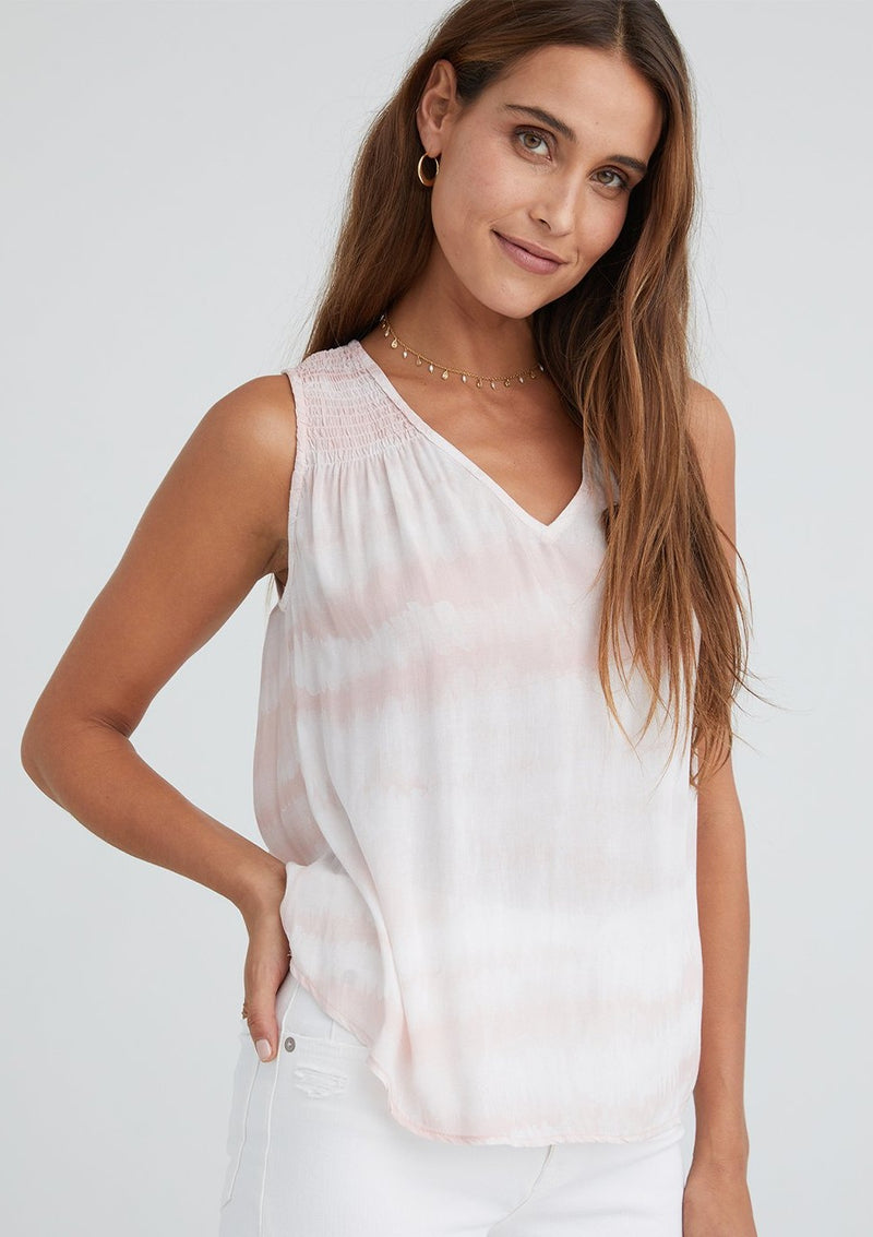 Sleeveless V-Neck Smocked Top