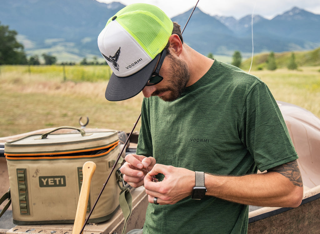Getting ready to fish in Voormi men's short sleev tech tee