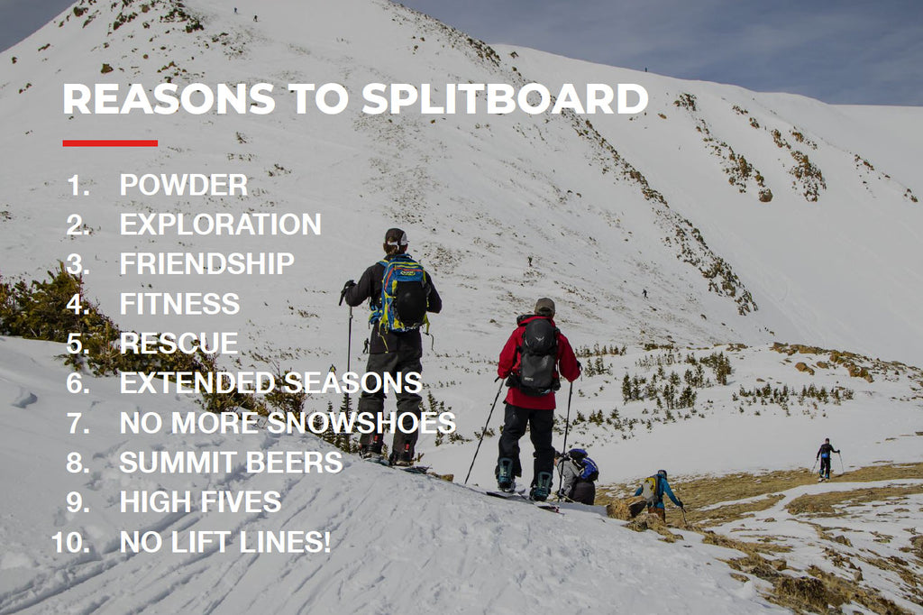 Reasons to splitboard include adventure, friends, and more