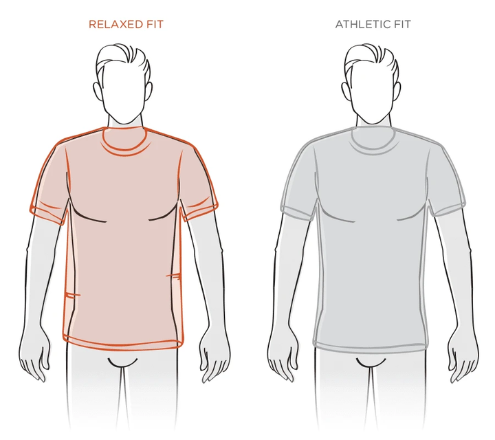 Mens Relaxed Size Guide Diagram