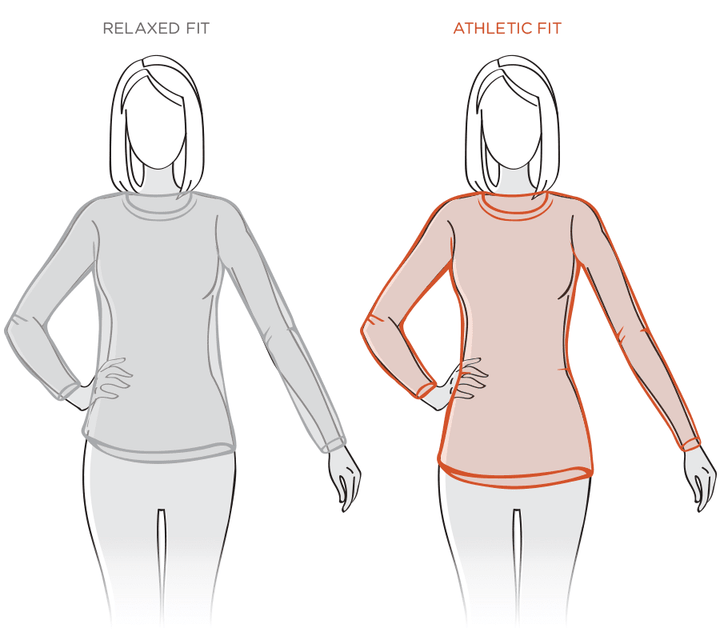 Womens Relaxed Size Guide Diagram