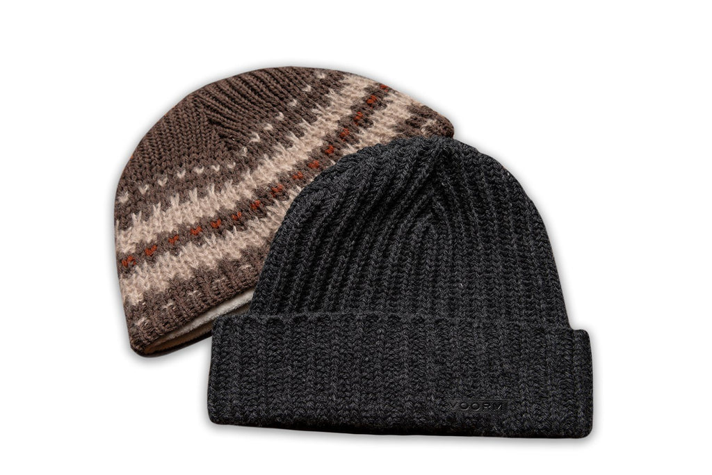 Accessories - Black Double-Knit Thermal Beanie