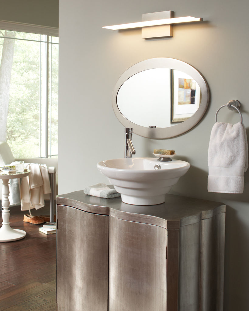 Span Vanity light direct lighting over oval mirror and vanity, tech lighting