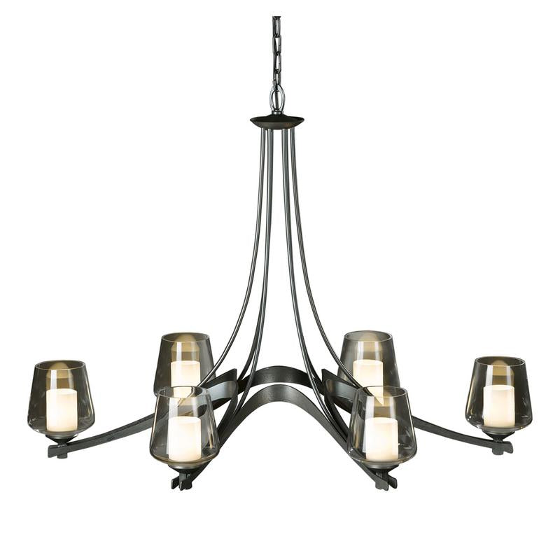 Oval Ribbon 6 Arm Chandelier