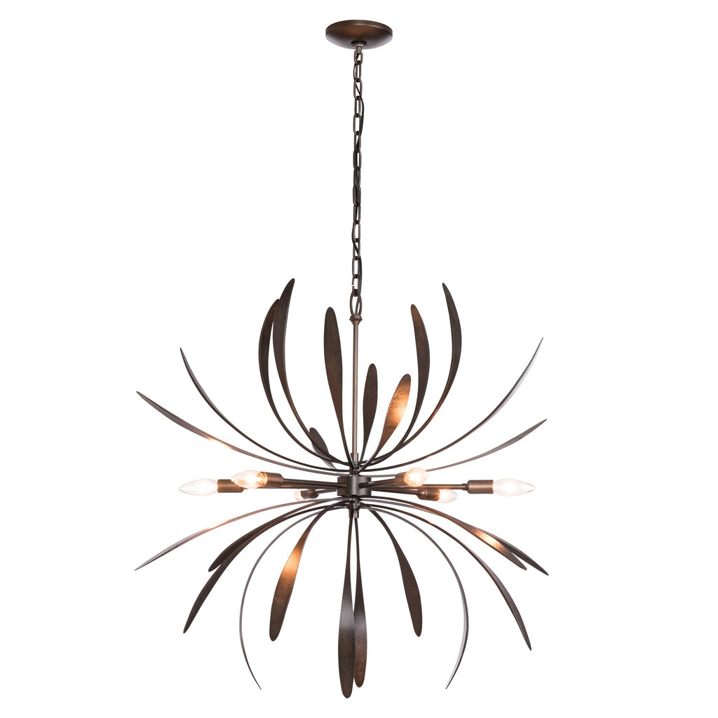 Dahlia Chandelier in Dark Smoke finish from hubbardton forge