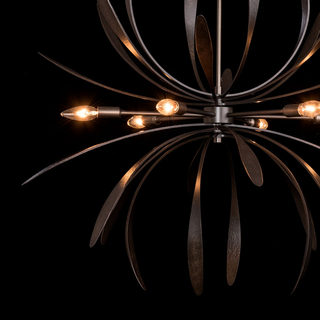 lamping details of Dahlia chandelier in dark smoke from hubbardton forge