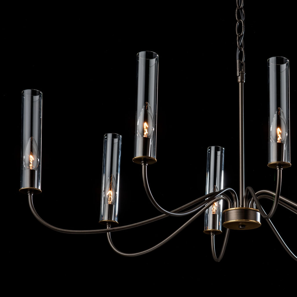 Details of Grace 8 arm chandelier in dark smoke from synchronicity from hubbardton forge