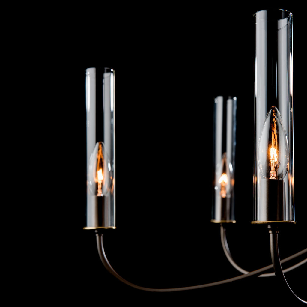 glass shade and lamping details of grace 8 arm chandelier by synchronicity