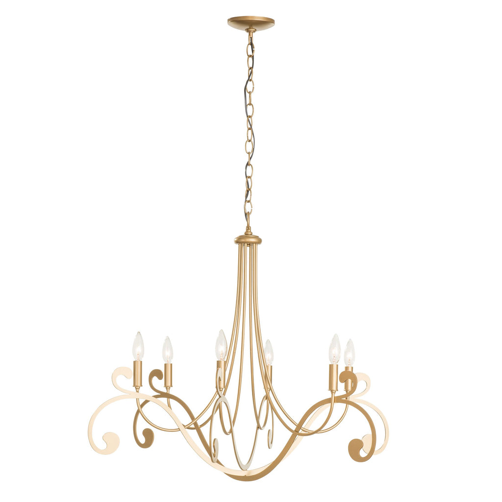 Bella 6 Arm Chandelier in gold finish from Synchronicity by Hubbardton Forge