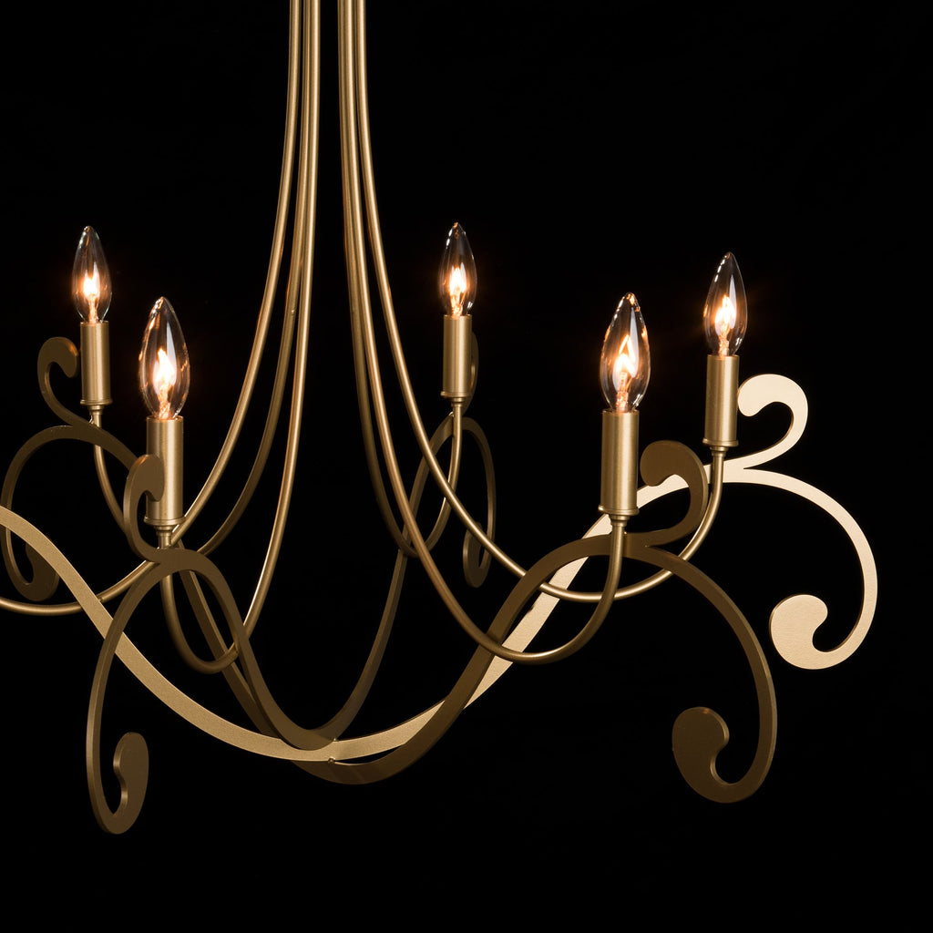 details of Bella 6 arm chandelier in gold by Synchronicity, Hubbardton Forge
