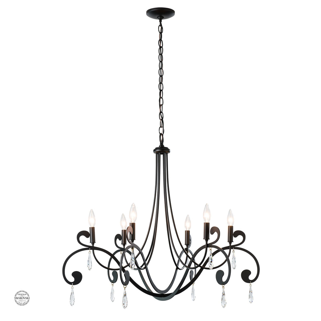 Stella 6 Arm Chandelier in Black finish with Swarovski crystals, Synchronicity by Hubbardton Forge