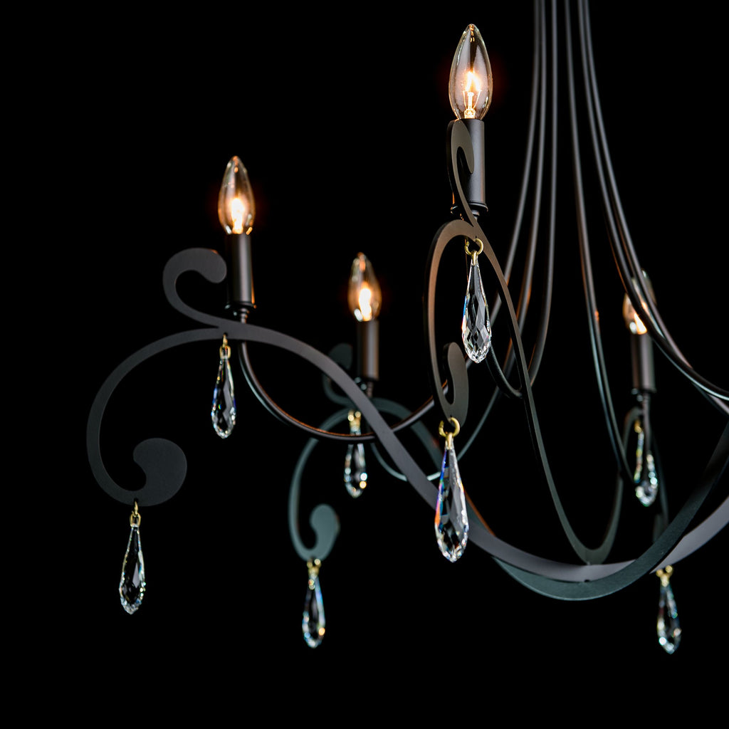 details of the stella 6 arm chandelier from Synchronicity by Hubbardton Forge in black with Swarovski Crystals.