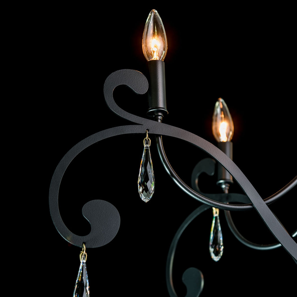 Swarovski crystal and lamping details of Stella 6 arm chandelier from Synchronicity