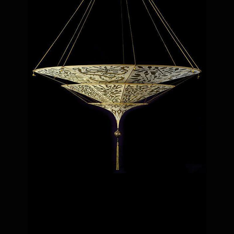 Scheherazade Ceiling light, herbarium pattern, venetia studium, fortuny lighting