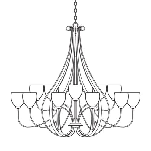 Sweeping Taper 15 Arm Chandelier