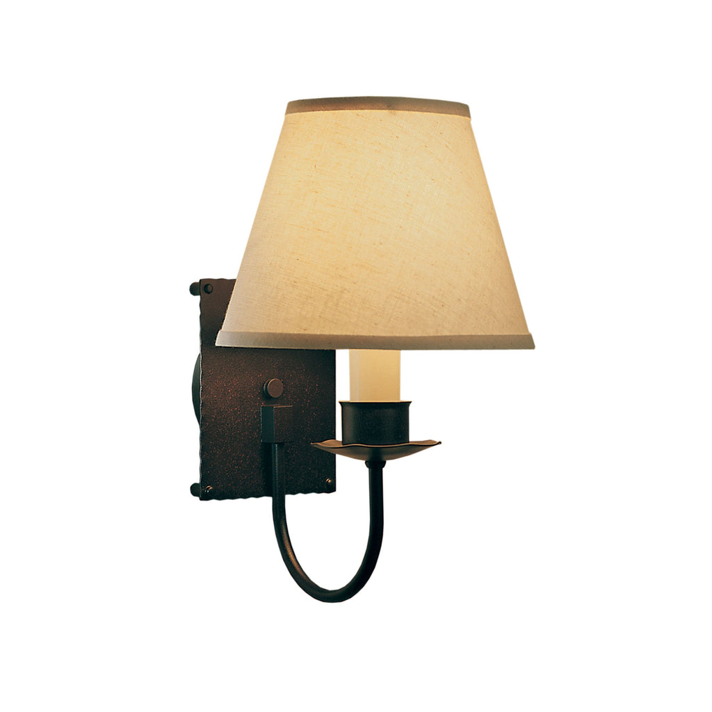 Traditional 1 Light Sconce with Natural Linen Shade