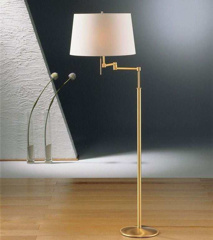 2541 SWING ARM FLOOR LAMP BRUSHED BRASS WITH SATIN WHITE SHADE - 1