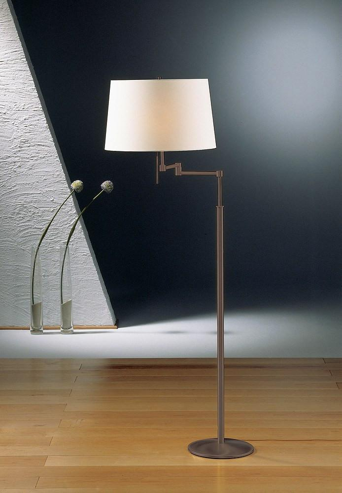 2541 SWING ARM FLOOR LAMP HAND-BRUSHED OLD BRONZE WITH SATIN WHITE SHADE - 2