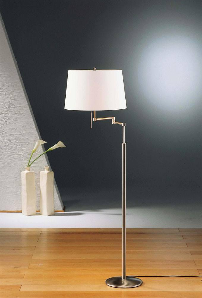 2541 SWING ARM FLOOR LAMP SATIN NICKEL WITH SATIN WHITE SHADE - 3