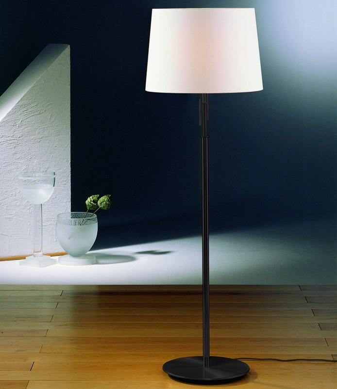 2545 FLOOR LAMP 'The Illuminator' HAND-BRUSHED OLD BRONZE WITH SATIN WHITE SHADE - 2