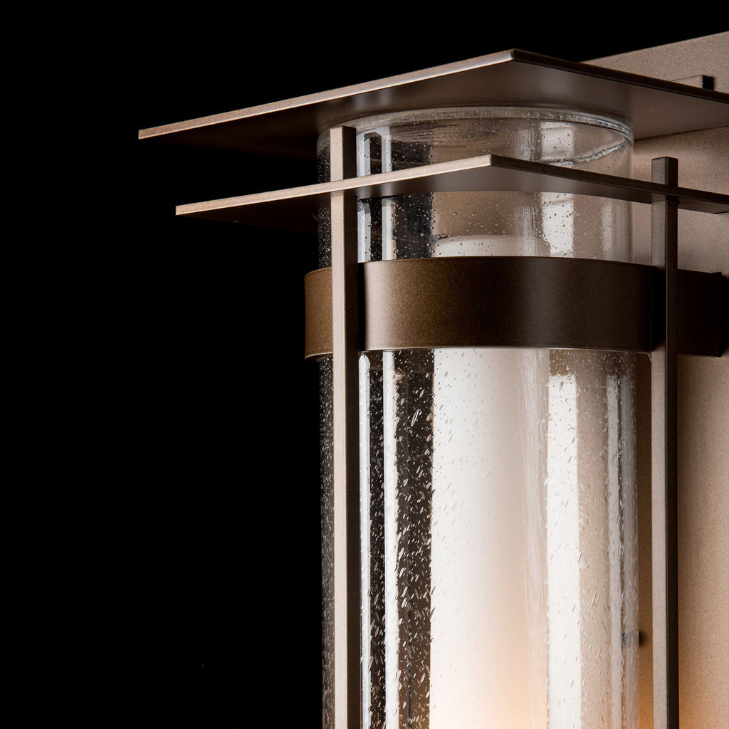 Banded Seeded Glass XL Outdoor Sconce with Top Plate