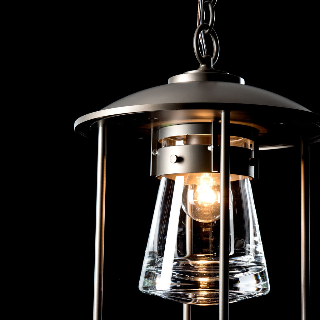 lamping detail of erlenmeyer outdoor pendant in coastal dark smoke by hubbardton forge