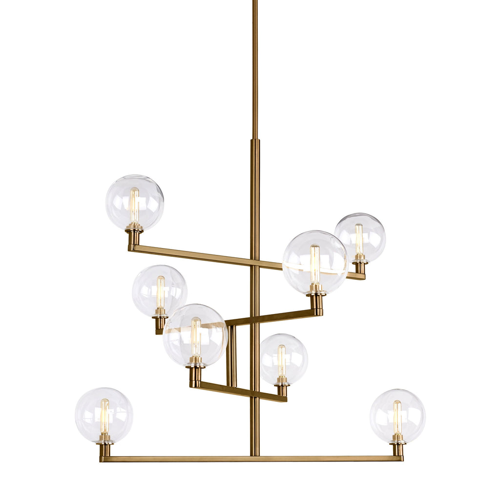 Gambit Chandelier in aged brass with clear globes from tech lighting