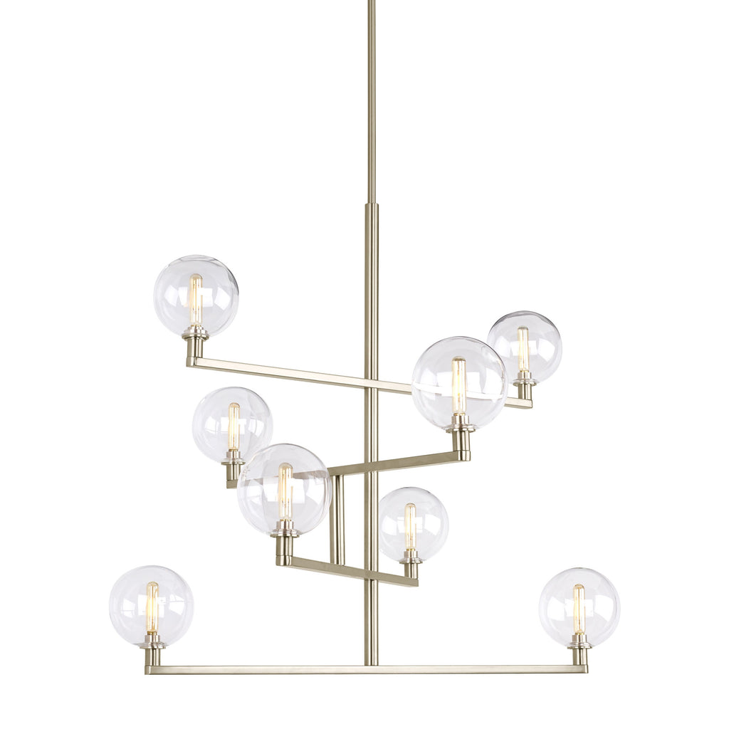 Gambit Chandelier in Satin Nickel with clear globes from tech lighting