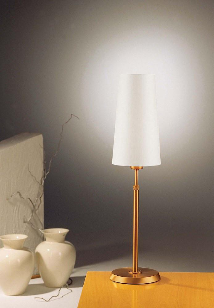 6263 SHADED TABLE LAMP BRUSHED BRASS WITH REGULAR SATIN WHITE SHADE - 2