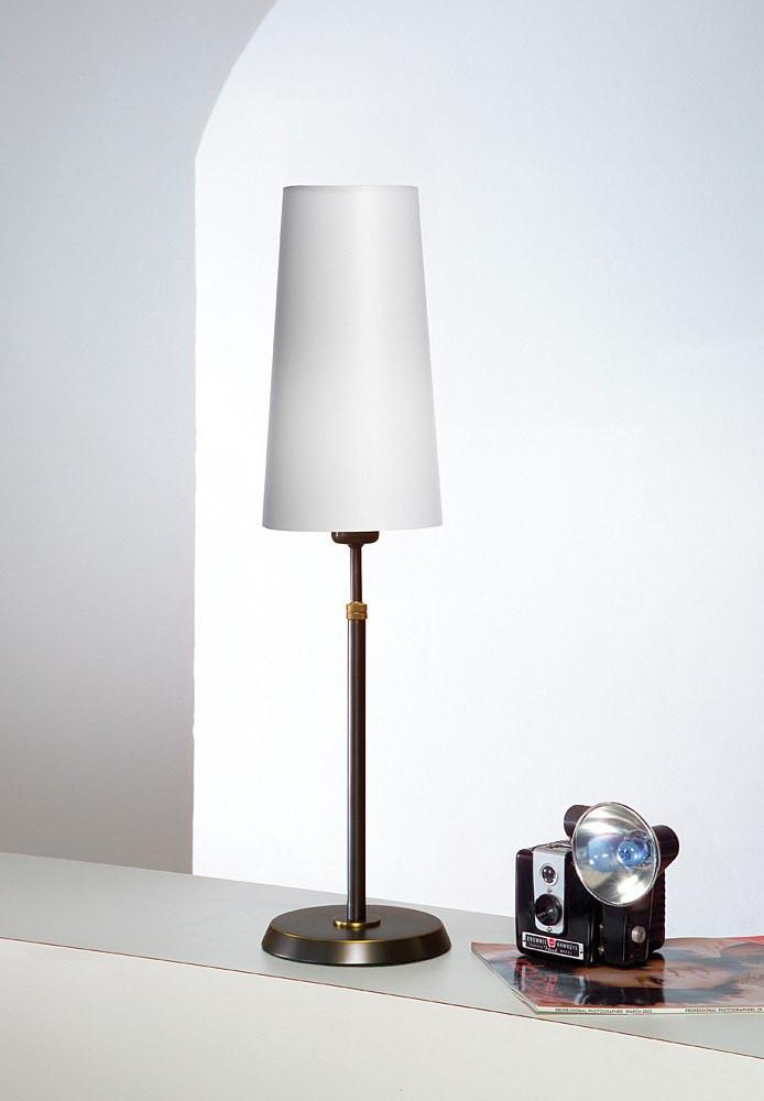 6263 SHADED TABLE LAMP HAND-BRUSHED OLD BRONZE WITH REGULAR SATIN WHITE SHADE - 3