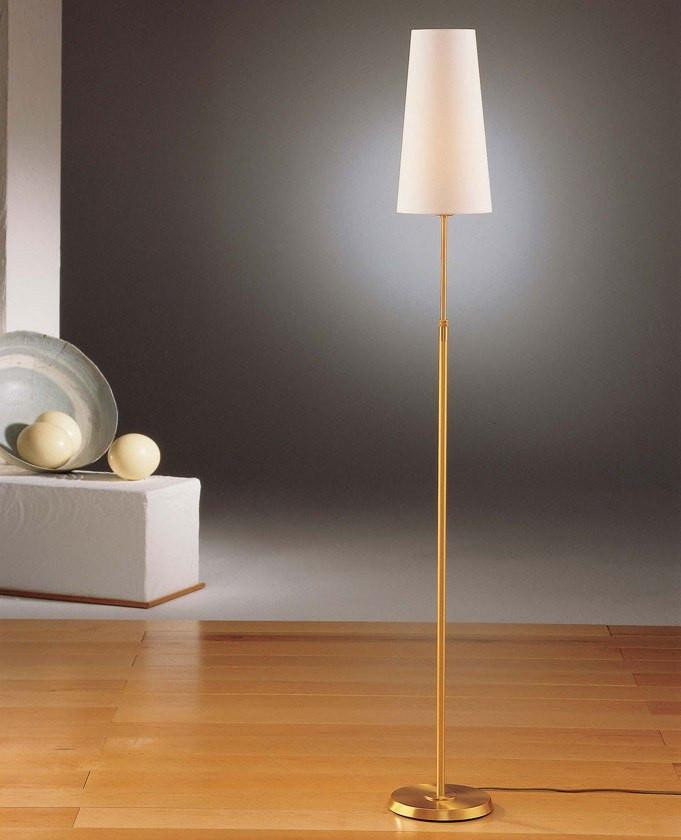 6354 SHADED FLOOR LAMP BRUSHED BRASS WITH NARROW SATIN WHITE SHADE - 2