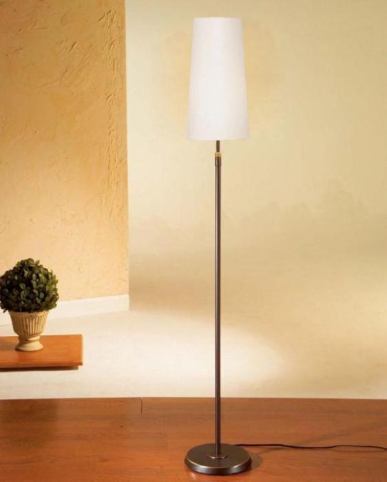 6354 SHADED FLOOR LAMP HAND-BRUSHED OLD BRONZE WITH NARROW SATIN WHITE SHADE - 1