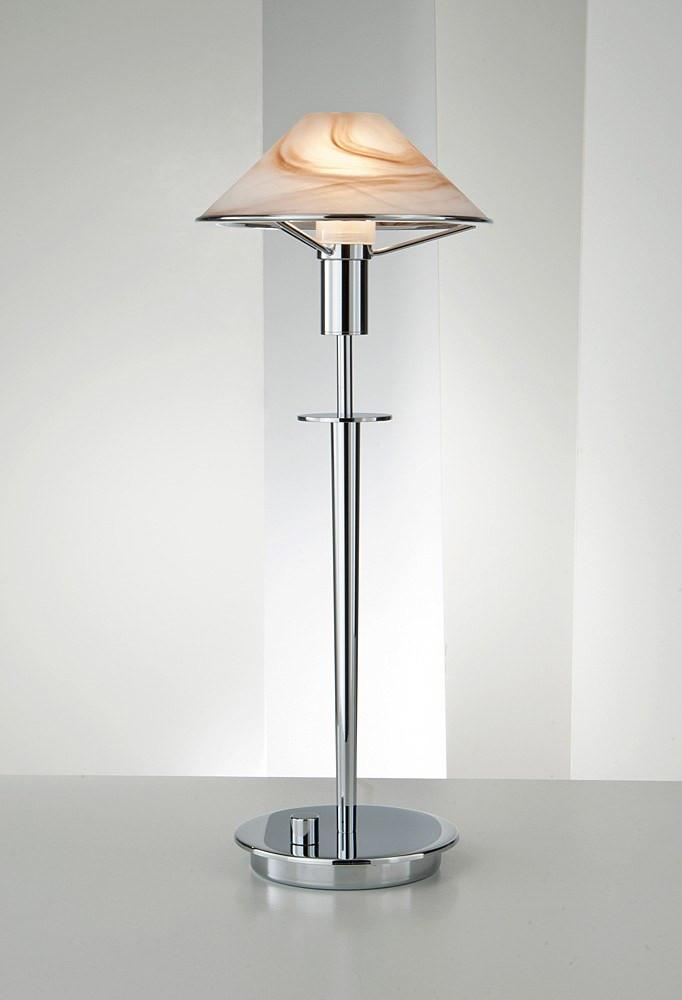 6514 HALOGEN TABLE LAMP CHROME / ALABASTER BROWN GLASS - 5