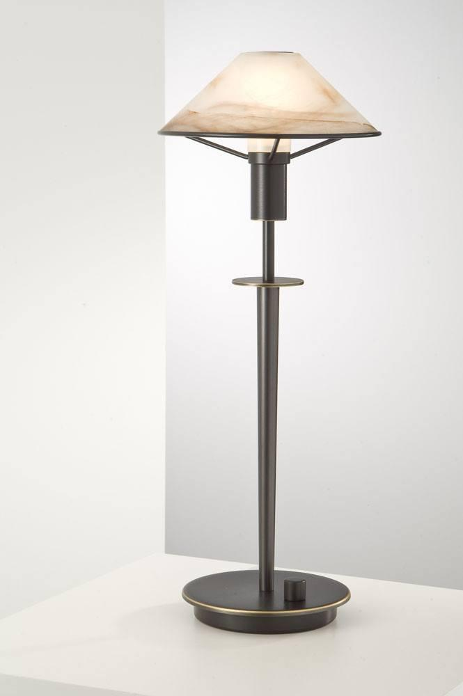 6514 HALOGEN TABLE LAMP HAND-BRUSHED OLD BRONZE / ALABASTER BROWN GLASS - 9