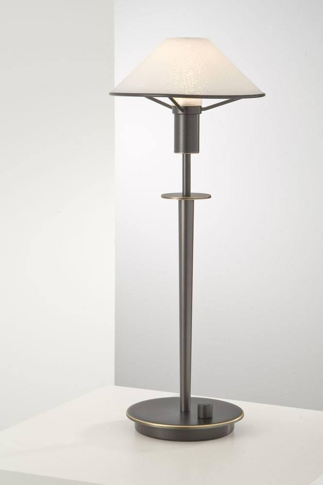 6514 HALOGEN TABLE LAMP HAND-BRUSHED OLD BRONZE / SATIN WHITE GLASS - 12