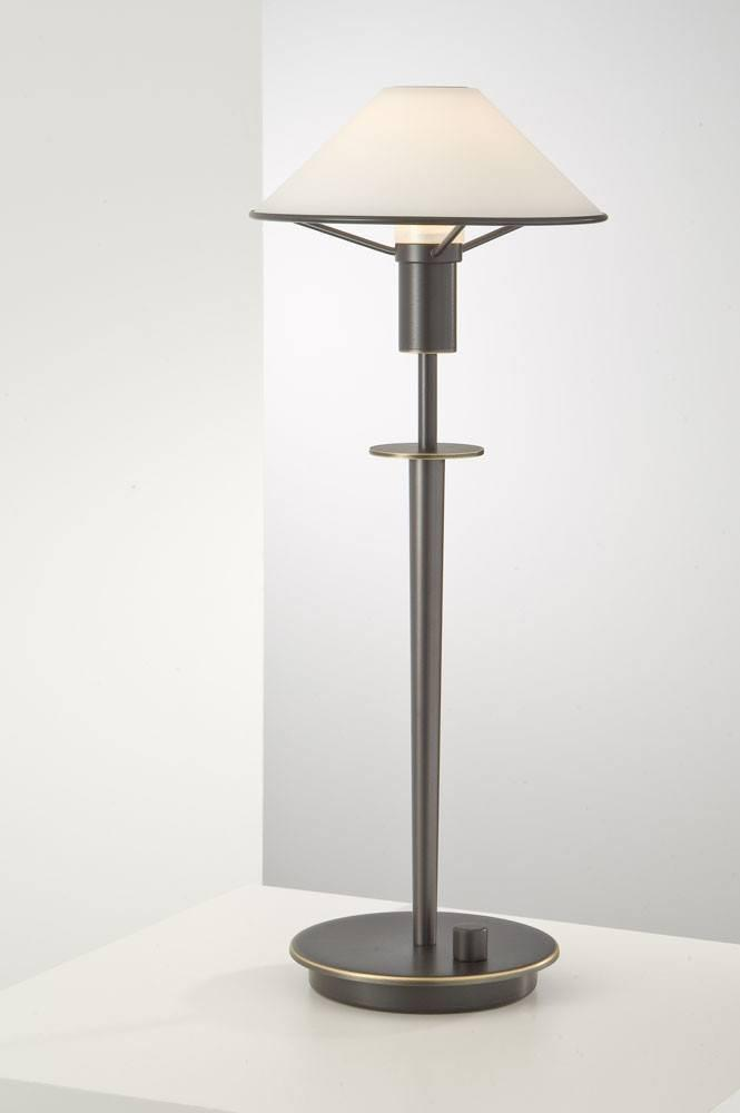 6514 HALOGEN TABLE LAMP HAND-BRUSHED OLD BRONZE / TRUE WHITE GLASS - 13