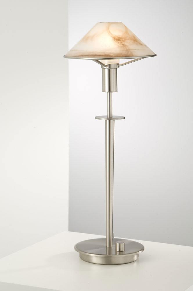 6514 HALOGEN TABLE LAMP SATIN NICKEL / ALABASTER BROWN GLASS - 14