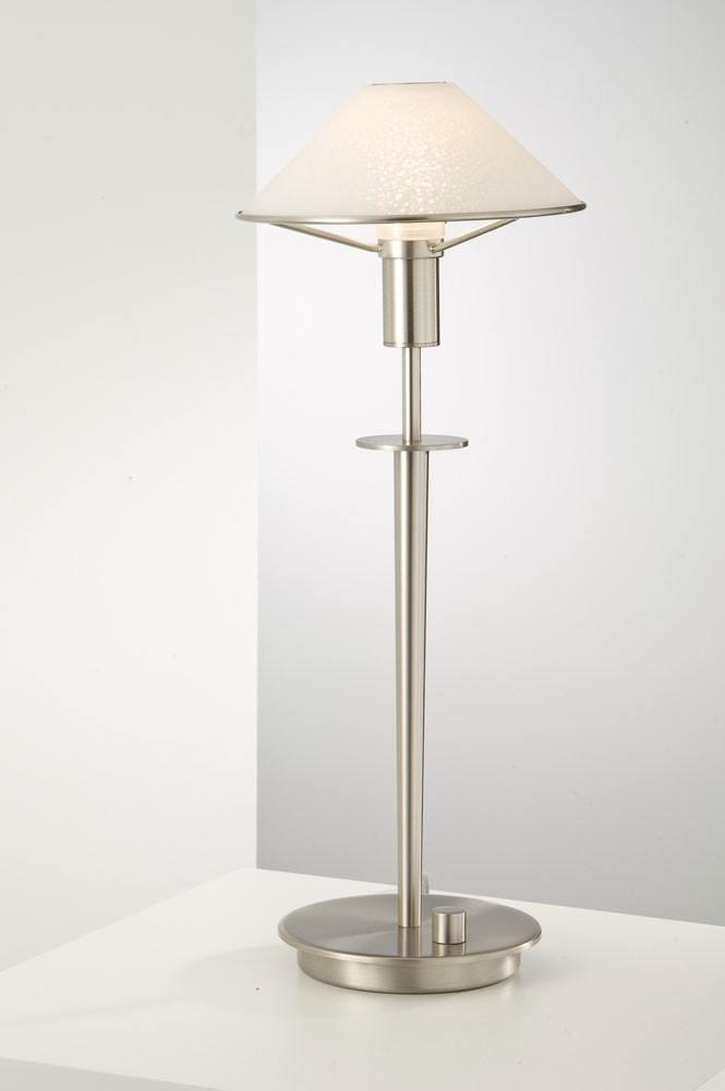6514 HALOGEN TABLE LAMP SATIN NICKEL / SATIN WHITE GLASS - 16