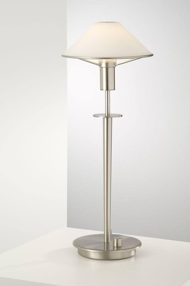 6514 HALOGEN TABLE LAMP SATIN NICKEL / TRUE WHITE GLASS - 17