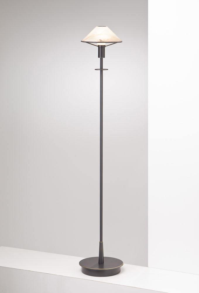 6515 HALOGEN FLOOR LAMP HAND-BRUSHED OLD BRONZE / ALABASTER BROWN GLASS - 9