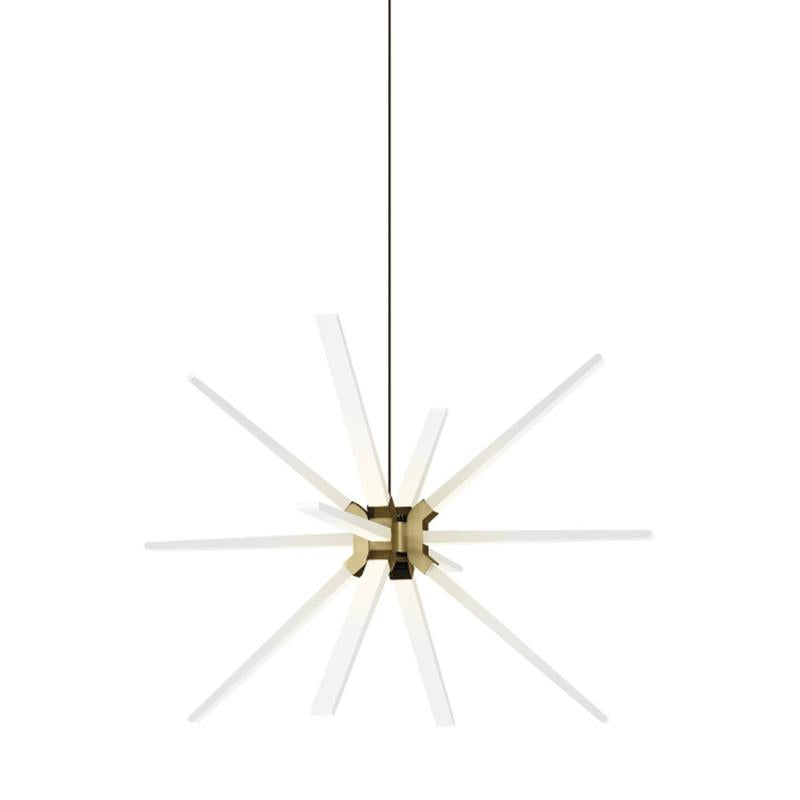 Photon LED starburst pendant in aged brass finish from tech lighting