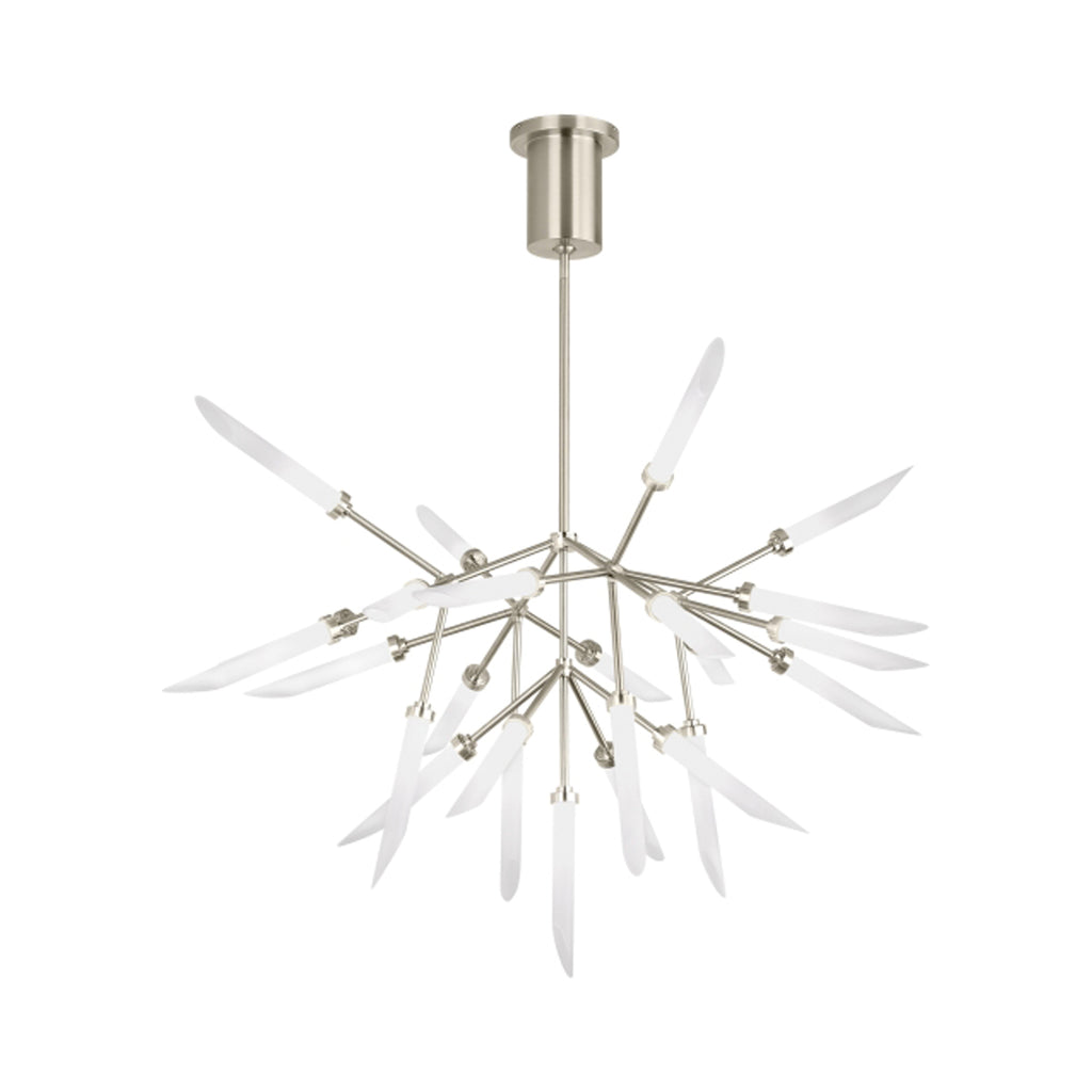 spur chandelier, satin nickel, frosted glass spurs, tech lighting