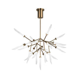 spur chandelier, aged brass finish, frosted glass spurs, tech lighting
