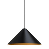 Konos conical shaped pendant in black and satin gold finish from tech lighting