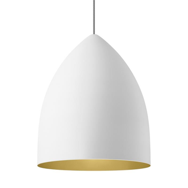 signal grande pendant in white with gold interior by tech lighting